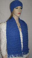 Royal Blue Hand Crochet Hat and Scarf Set
