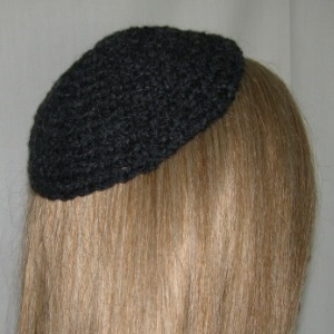 Dark Gray Cotton Untrimmed Kippah