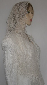 Ivory Floral Lace Hair Wrap Mid Eastern Venise Trim