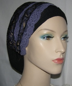 Lavender, Black & Gold Lace Sari Headband Black Snood