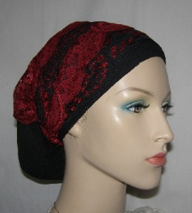 Red Black Lace Sari Headband Black Snood