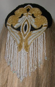 Crochet Kippah with Gold & Pearl Bead Sequin Applique