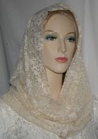 Creme Floral Lace Cowl Snood Head Covering