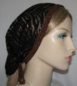 Miriam Black & Brown Nylon Lace Mimkhatah