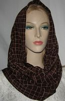 Brown Check Silk Cowl Snood Head Covering