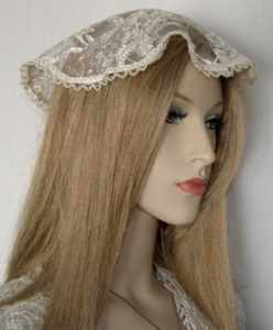 Ivory Satin Stitch Pearl Trimmed Doily Mapit Head Covering