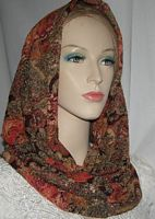 Orange Browns Floral Cowl Snood Head Covering