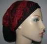 Red Black Lace Sari Head Band with Black Snood