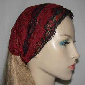 Red Black Lace Sari Headband