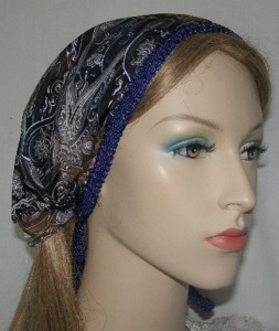 Tamar Blues Paisley Design Mimkhatah Hair Coverings