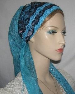 Turquoise Silver Black Sari Headband Turquoise Tichel
