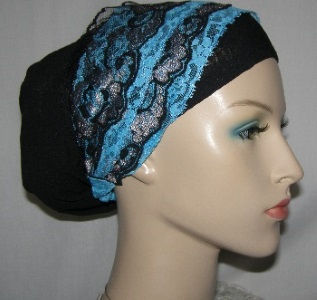 Black Snood with Turquoise Black Silver Sari Head Band