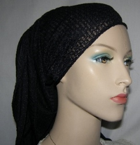 Black Poly Rayon Mitpachat Headcovering