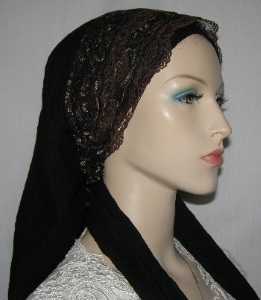 Black Mitpachat Black Gold Brown Lace Sari Headband