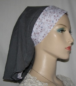Dark Gray with White Mauve & Blue Floral Ties Sherntichel Scarf