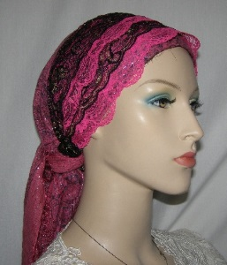 Pink Tichel Black Gold Lace Sari Headband