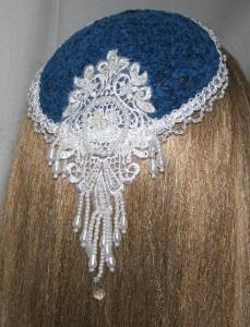 Dark Turquoise Chenille Kippah White Pearl Bead Applique