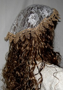 Gold Venise Trimmed Ivory Lace Doily Mapit Headcovering