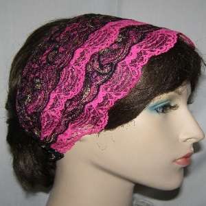 Pink Black & Gold Sari Headband
