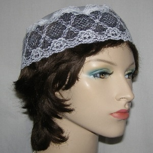 White Satin & Lace Buchari Kippah