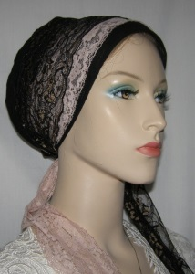 Mauve Black Gold Lace Snood Wrap