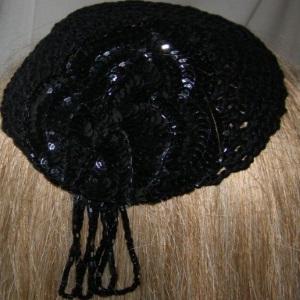 Black Croceht Black Sequin Applique