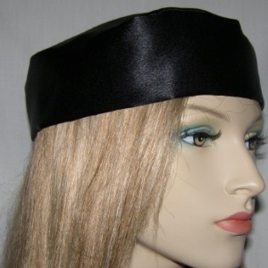 Black Crepe Back Satin Buchari Kippah
