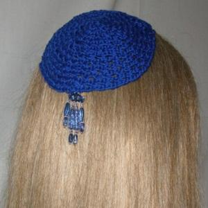 Blue Crocheted Kippah Blue Crystal Tassel