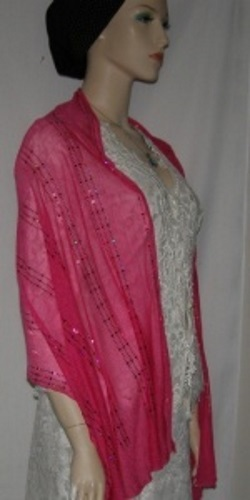 Pink Sequin Silk Shawl