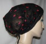 Black net Red Embroidery Floral Kerchief
