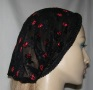 Black Net Red Embroidered Flower Scarf