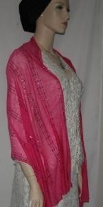 Pink Sequin Silk Shawl