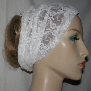 White Stretcy Lace Head Wrap