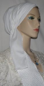 White Designed Snood Wrap