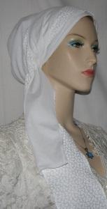 White Designed Snood Wrap