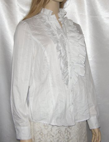 White Frilly Blouses Ladies 57
