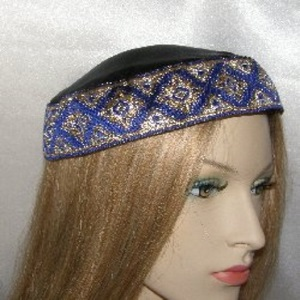 Black Crepe Back Satin Blue Gold Jacquard Kippah