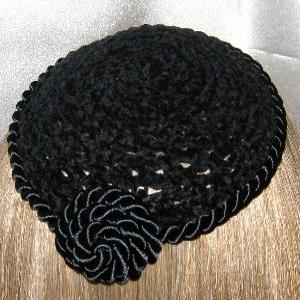Black Chenille Black Cording Trimmed Kippot Headcoverings