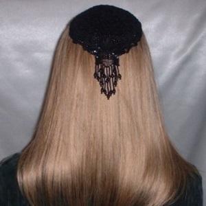 Black Pearl Bead Applique Kippah