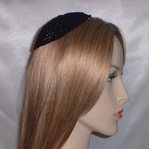 Black Mercerized Cotton Untrimmed Kippah
