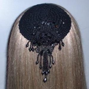 Black Elegance Black Pearl Applique Kippah
