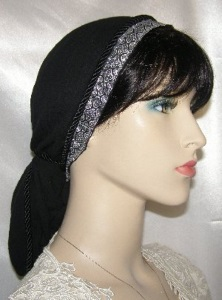 Black Gauze Cotton Silver Black Jacquard Band Snood