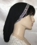 Black Gauze Cotton Snood Silver Black Jacquard Band