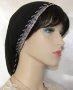 Black Gauze Cotton Silver Jacquard Band Silver Bead Cording Snood Headcovering
