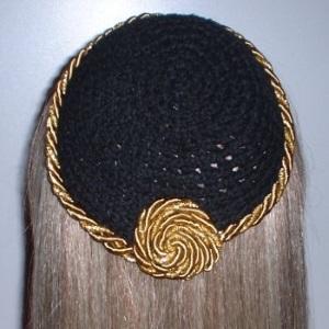 Black Chenille Kippah Gold Gold Sparkle Cording Trim