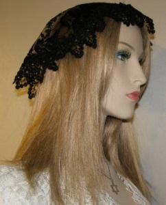 Black Embroidery Floral Mapit Doily Style Kippah