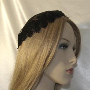 Black Embroidery Floral Black Fan Venise Buchari Yarmulke