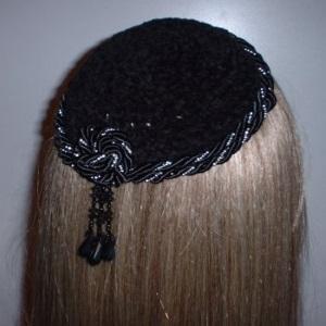Black Chenille Double Silver Bead Cording Trim Kippah