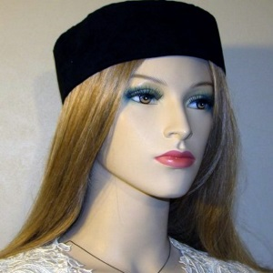 Black Suede Wide Brim Buchari Kippah