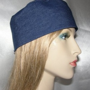 Blue Denim Wide Brim Buchari Kippah